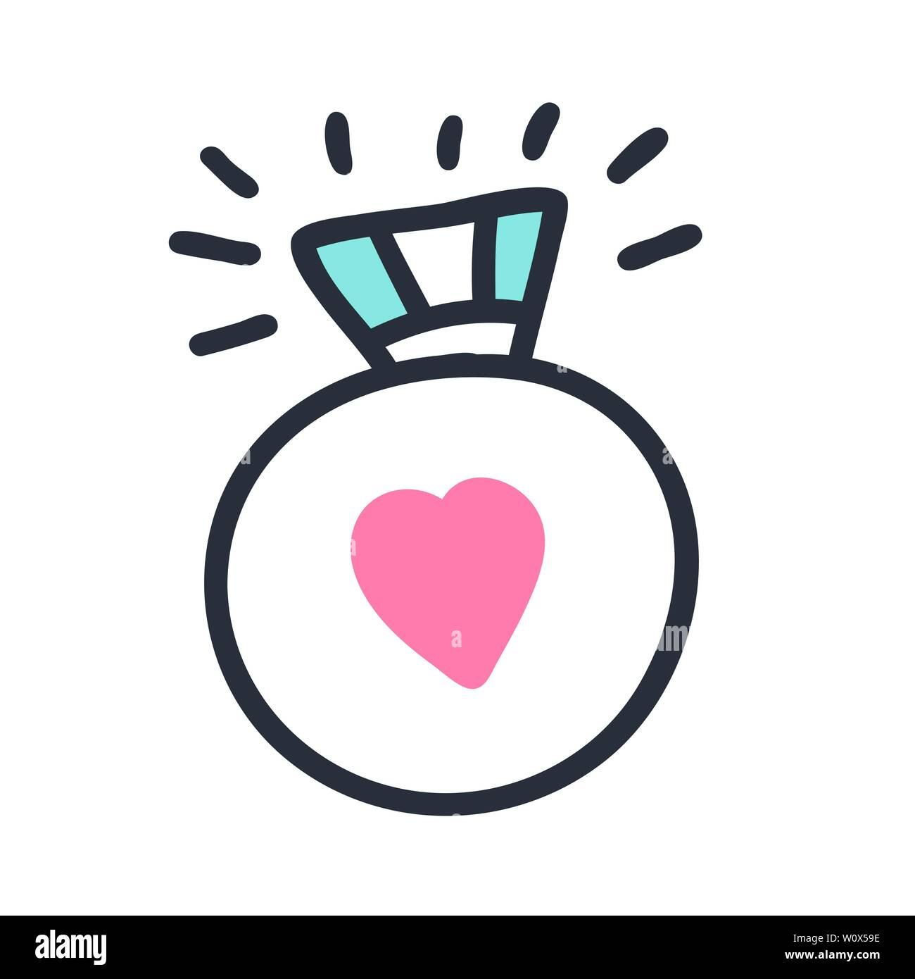 Hand drawn vector illustration with engagement ring and heart  Funny