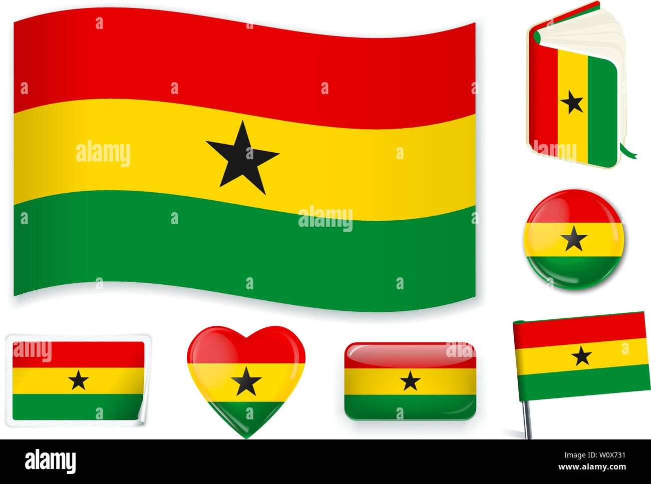 Ghana national flag. Vector illustration. 3 layers. Shadows, flat flag, lights and shadows. Collection of 220 world flags. Accurate colors. Easy changes. - Stock Vector
