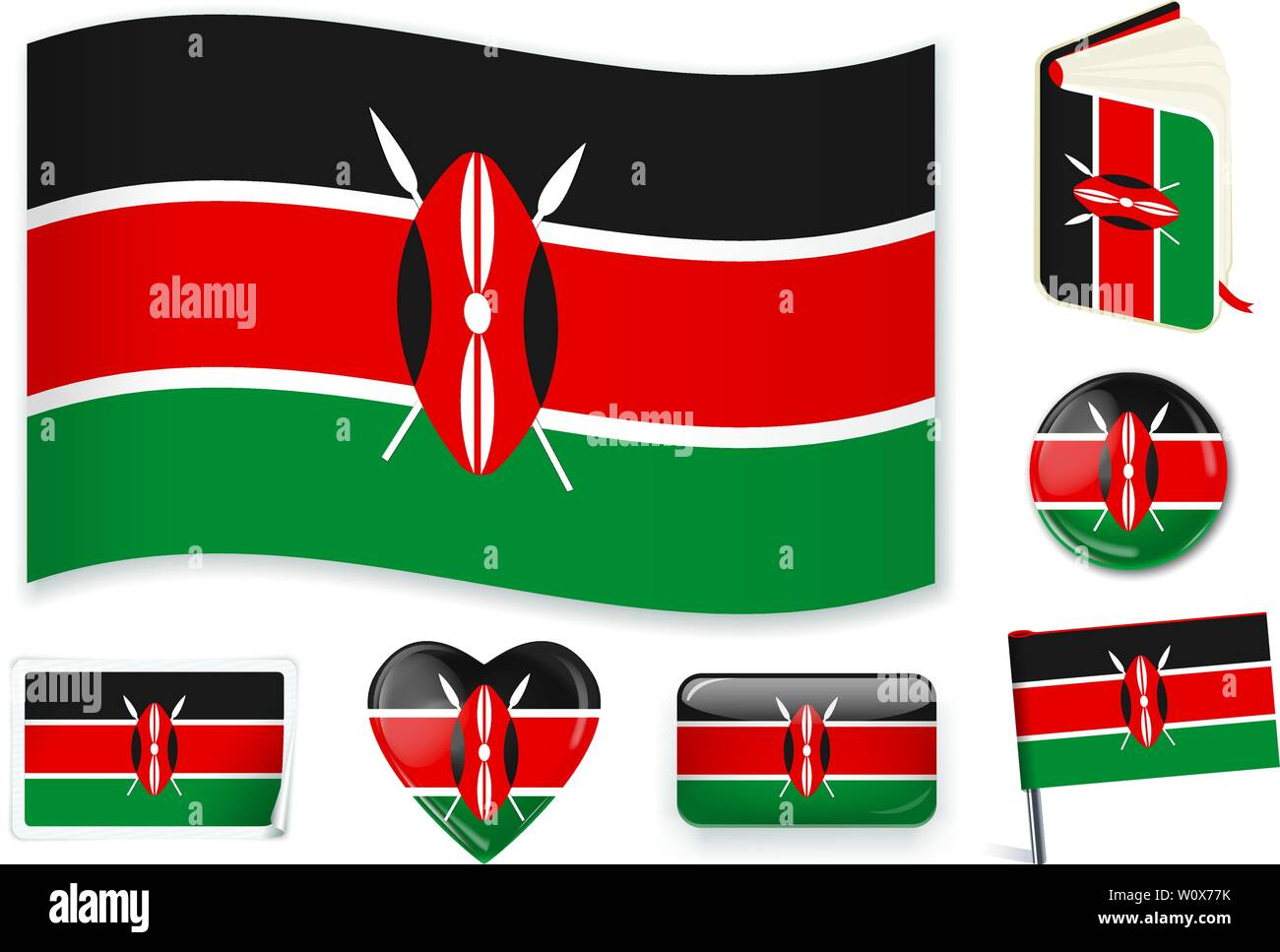 Kenyan national flag. Vector illustration. 3 layers. Shadows, flat flag, lights and shadows. Collection of 220 world flags. Accurate colors. Easy changes. Stock Vector