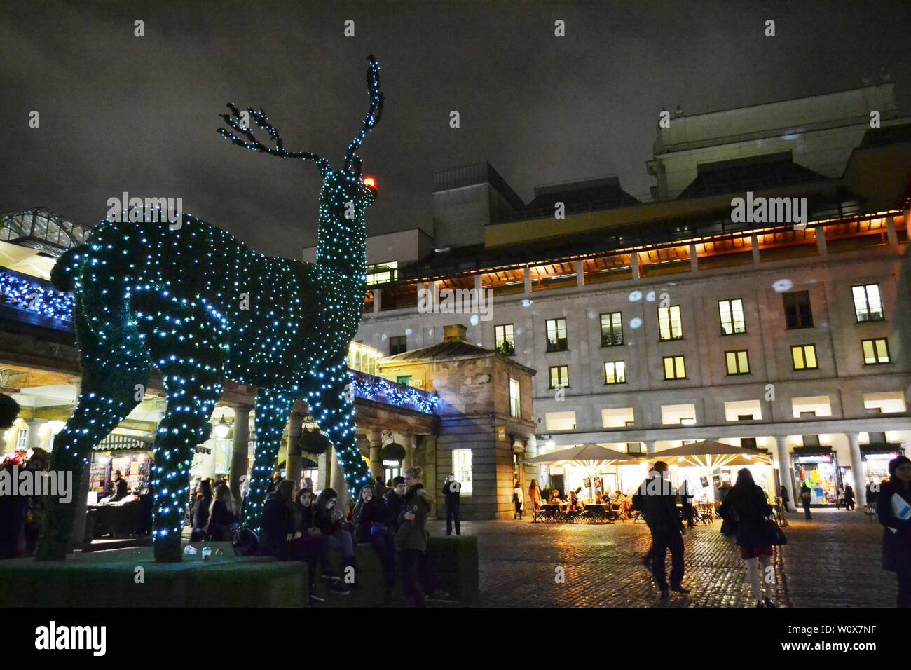 London/UK - November 27, 2013: Covent Garden square by night decorated for Christmas with giant topiary illuminated with LED lights reindeer by night. Stock Photo