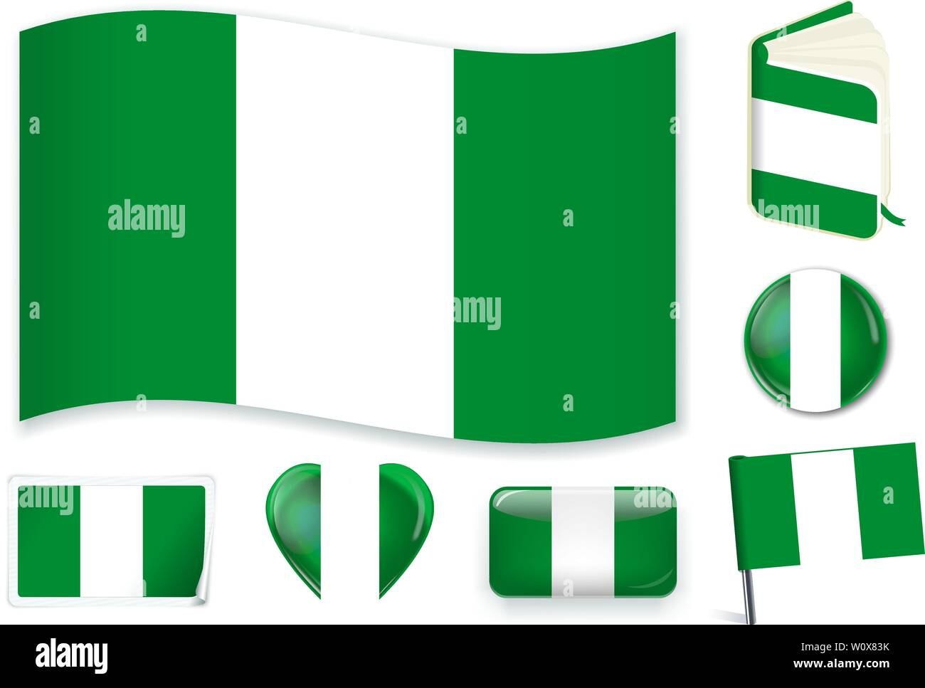 Nigeria national flag. Vector illustration. 3 layers. Shadows, flat flag, lights and shadows. Collection of 220 world flags. Accurate colors. Easy changes. - Stock Vector