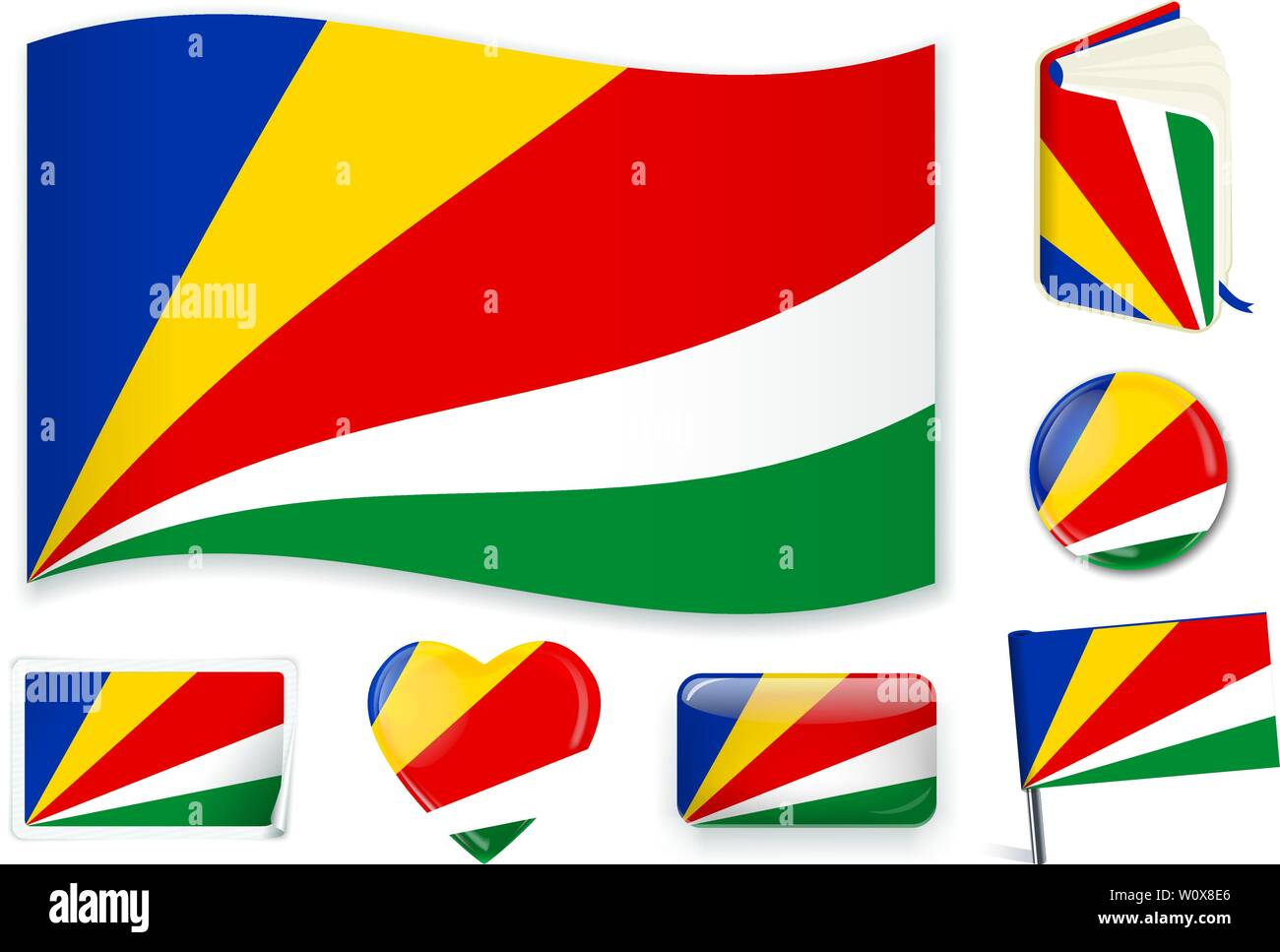Seychelles national flag. Vector illustration. 3 layers. Shadows, flat flag, lights and shadows. Collection of 220 world flags. Accurate colors. Easy changes. - Stock Image