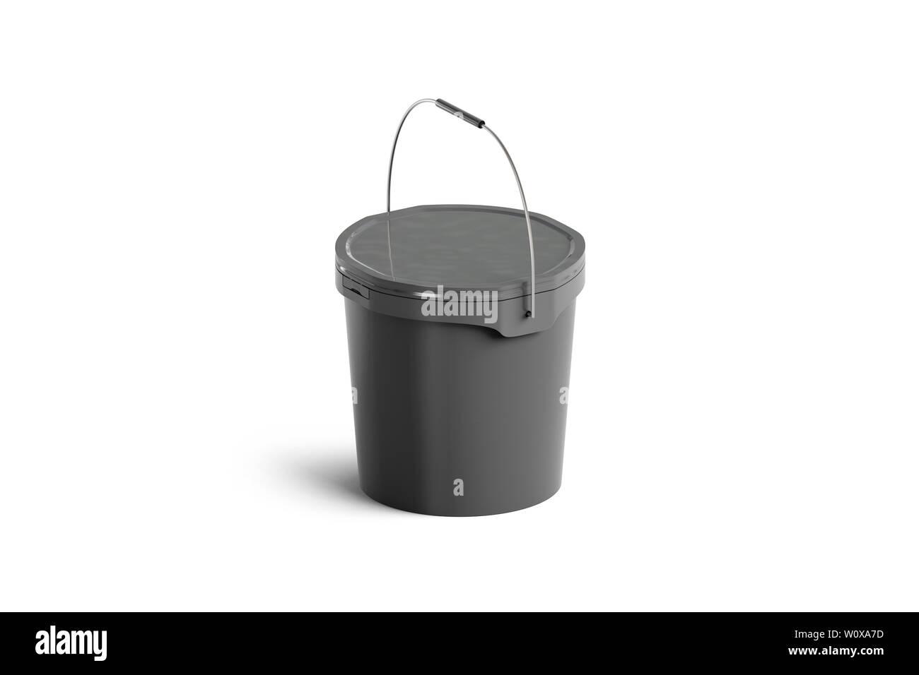 Blank Black Paint Bucket With Handle Mock Up Isolated Side View 3d Rendering Sealed Industrial Basin Mockup Empty Plastic Storage Container Versa Stock Photo Alamy