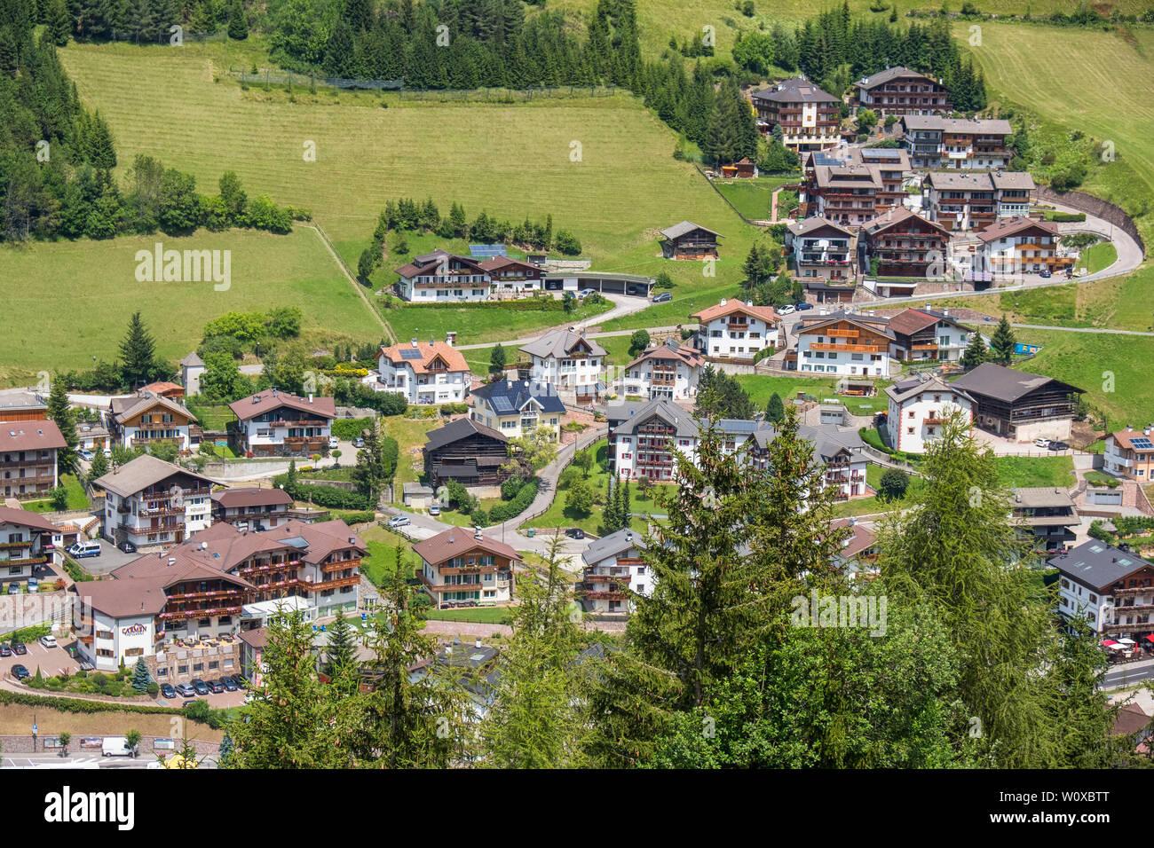 View of Santa Cristina village in Val Gardena, Italy Stock Photo