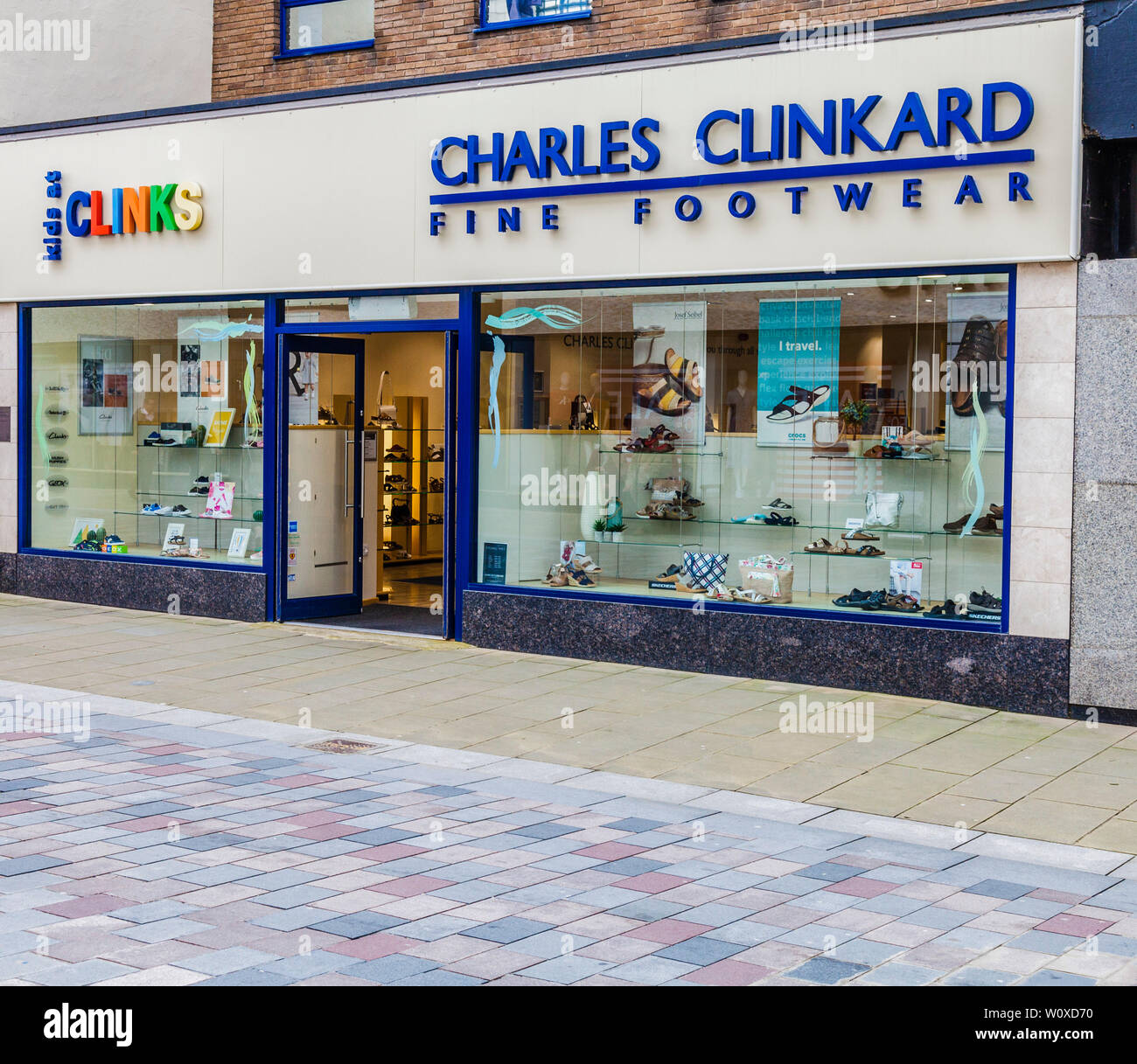 b2d32a00bd9a2 Charles Clinkard shoe shop in Darlington,England,UK - Stock Image