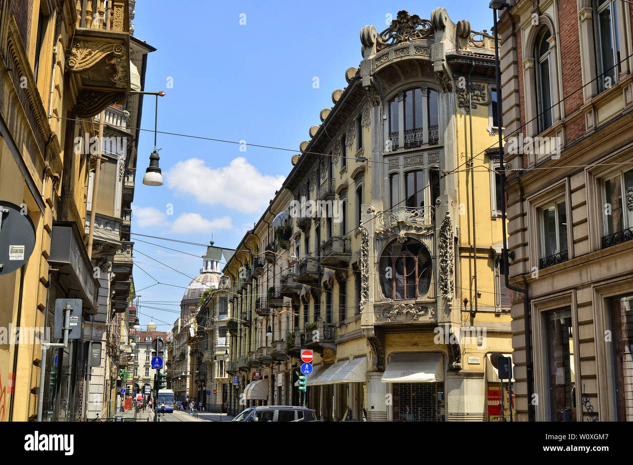 Turin, Piedmont, Italy. June 2018. Casa Florio Nizza, created by engineer Giuseppe Velati Bellini, is one of the interpretations of the liberty or art - Stock Image