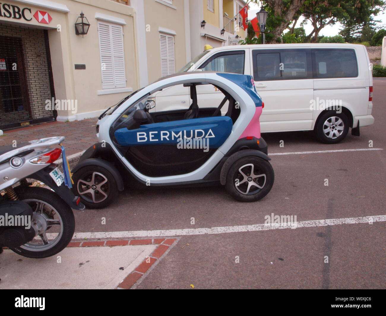 The latest tourist travel adventure in Bermuda. The Renault Twizy, an all electric vehicle that allows freedom and independence to tour safely. Stock Photo