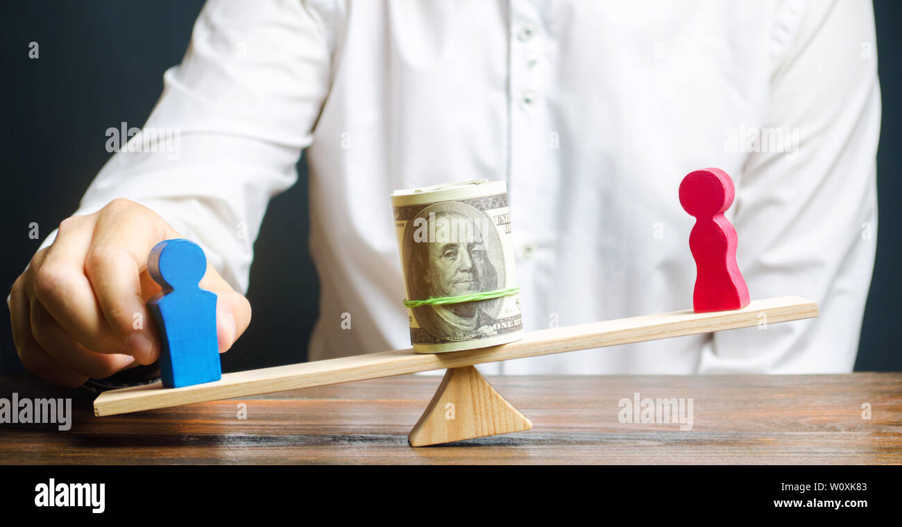 Wooden figures of man and women on the scales. Concept of gender pay gap. Income inequality. Oppression of women. Gender discrimination. Underestimati Stock Photo