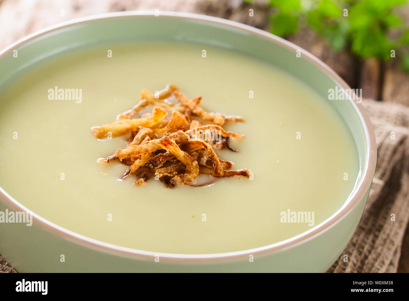 Fresh homemade cream of potato soup in bowl garnished with crispy onion strings (Selective Focus, Focus on the onion strings in the front) - Stock Image