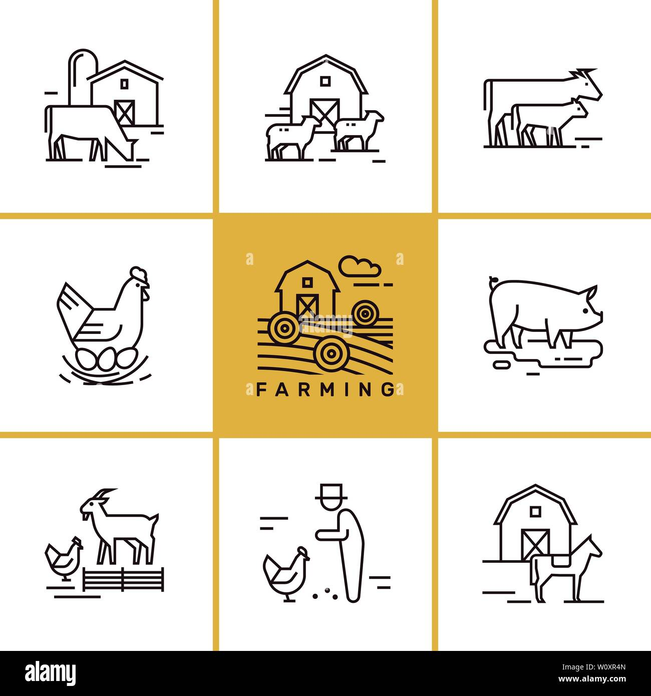 Vector set of farming and farm animals that are great for illustrations, infographics Stock Vector