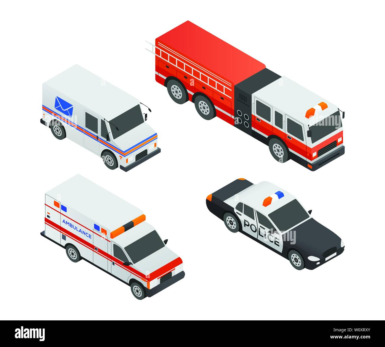 Special transport vehicles - modern vector isometric colorful elements - Stock Image