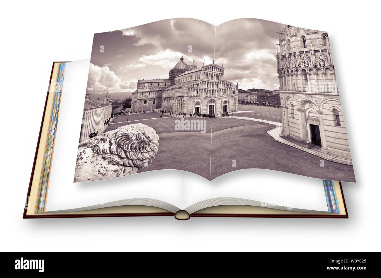 Opened photo book of the famous italian square called 'The square of Miracles photographed from an unusual point of view. - I'm the copyright owner of - Stock Image