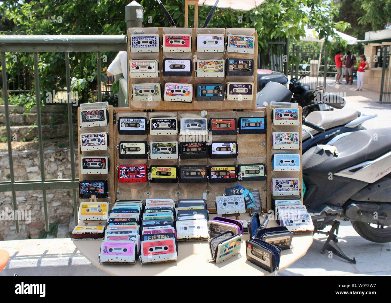 cassette tapes recycled into purses and wallets and sold on athens street greece - Stock Image