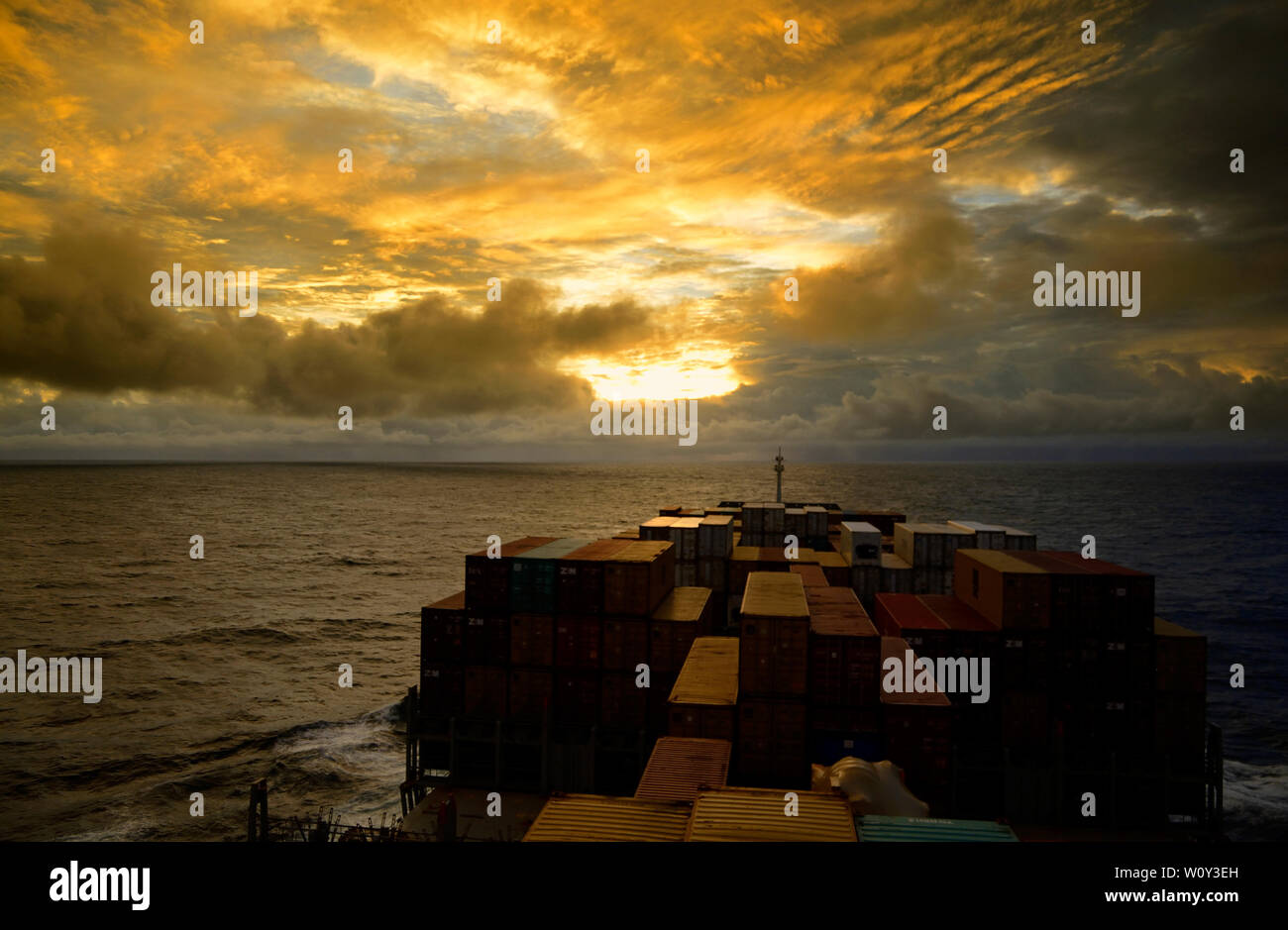 south atlantic ocean 04.59 n  050.38 w, international waters -   - january 12, 2014:  view onto sea and deck stowed containers of the german container - Stock Image