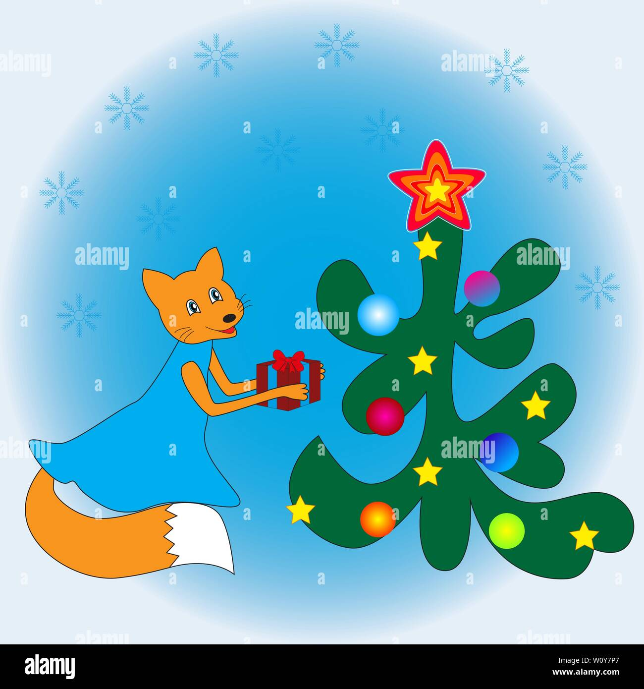 Cartoon Fox Presents A Gift To The Christmas Tree Stock Vector Image Art Alamy Download tree cartoon stock vectors. alamy