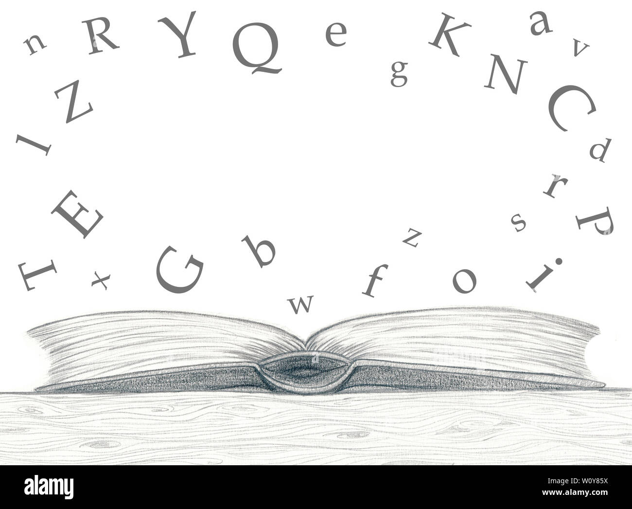 pencil sketch open book empty alphabetic characters white