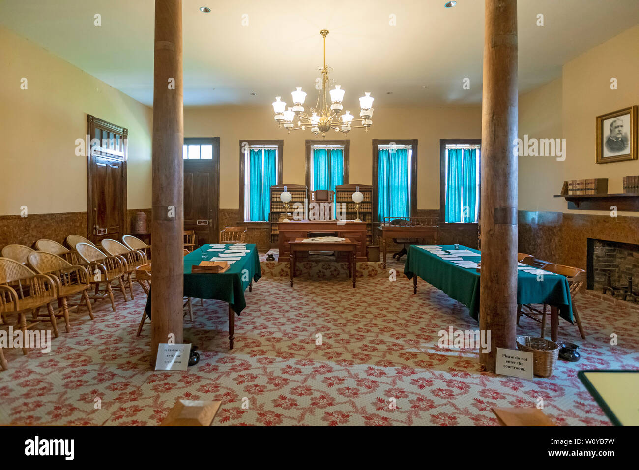 Fort Smith, Arkansas - Judge Isaac C. Parker's courtroom at Fort Smith National Historic Site. Judge Parker was the U.S. district judge responsible fo - Stock Image