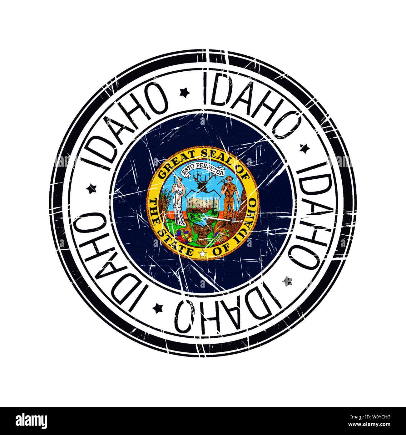 Great state of Idaho postal rubber stamp, vector object over white background - Stock Vector