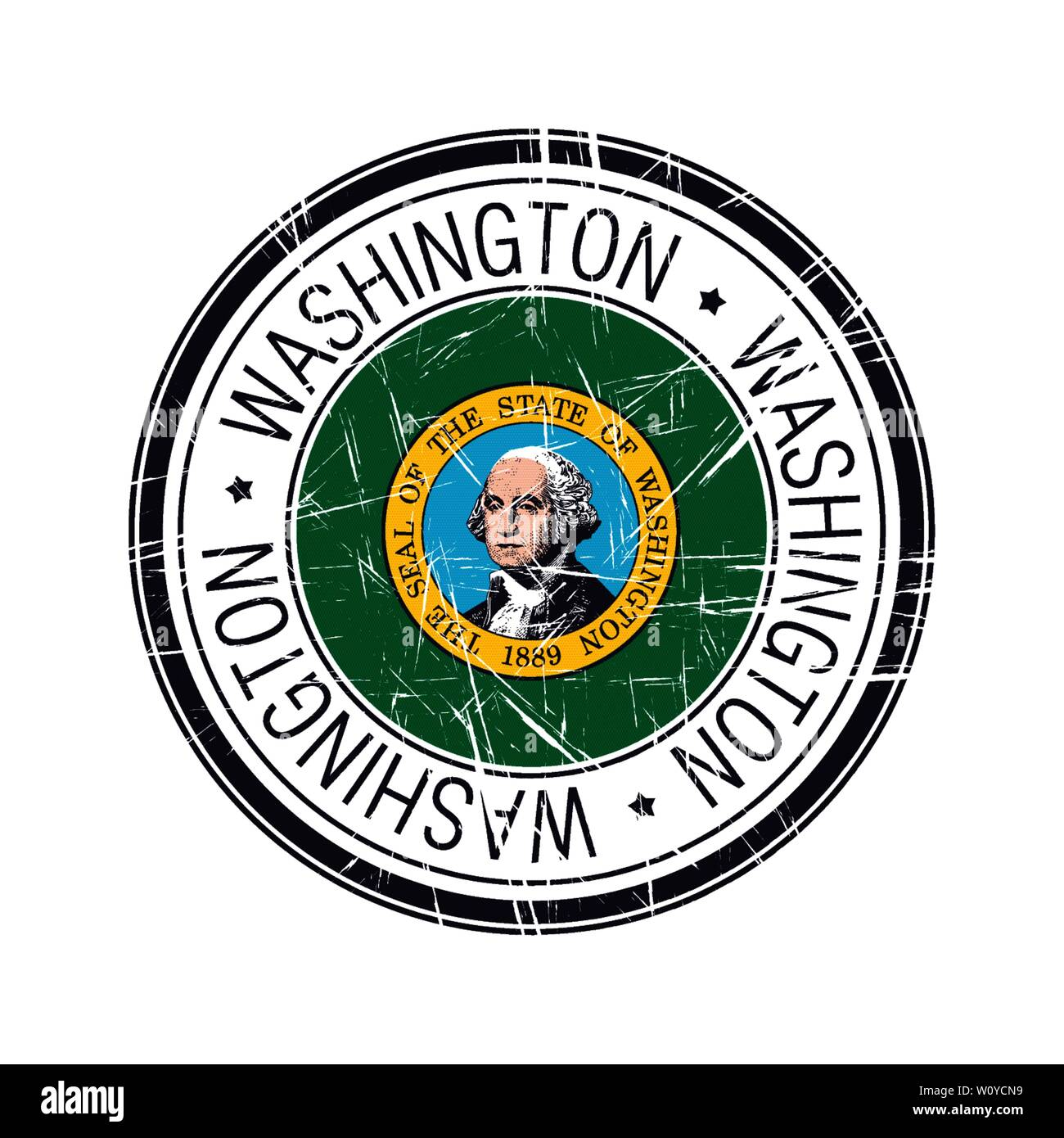 Great state of Washington postal rubber stamp, vector object over white background - Stock Vector