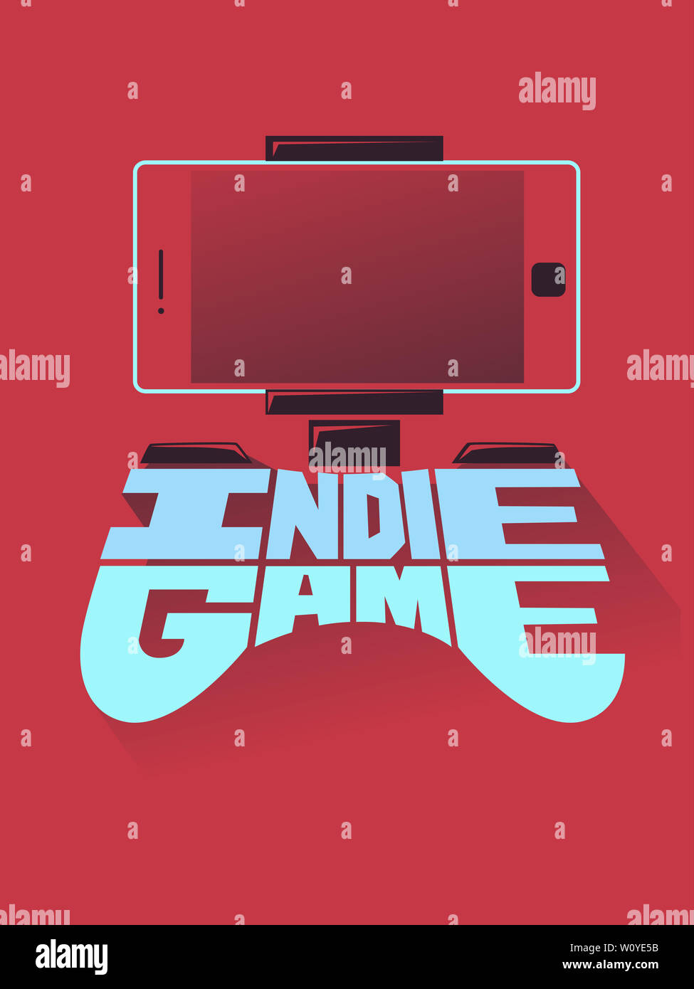 Illustration of Indie Game Lettering Shaped as Video Game Console