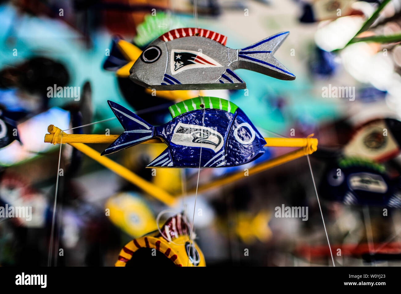 Ceramic fish. Sales of souvenirs in the tourist destination Puerto Peñasco, Sonora, Mexico. crafts, art, handicrafts, beachwear and accessories, ceram Stock Photo