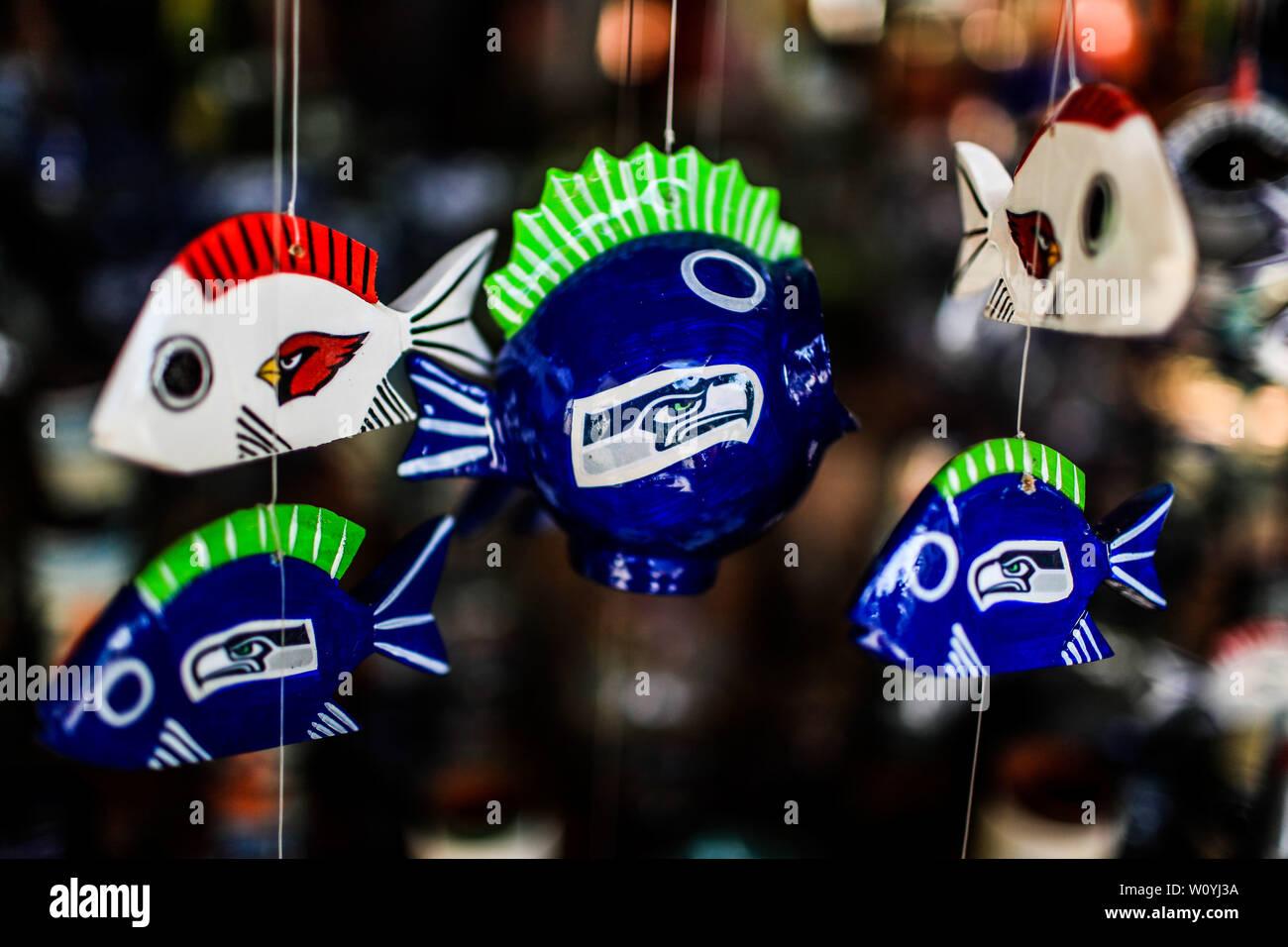 Ceramic fish. Sales of souvenirs in the tourist destination Puerto Peñasco, Sonora, Mexico. crafts, art, handicrafts, beachwear and accessories, ceram Stock Photo