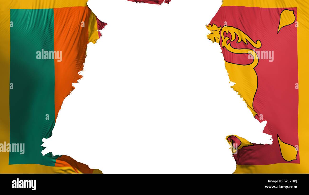 Sri Lanka flag ripped apart, white background, 3d rendering Stock Photo