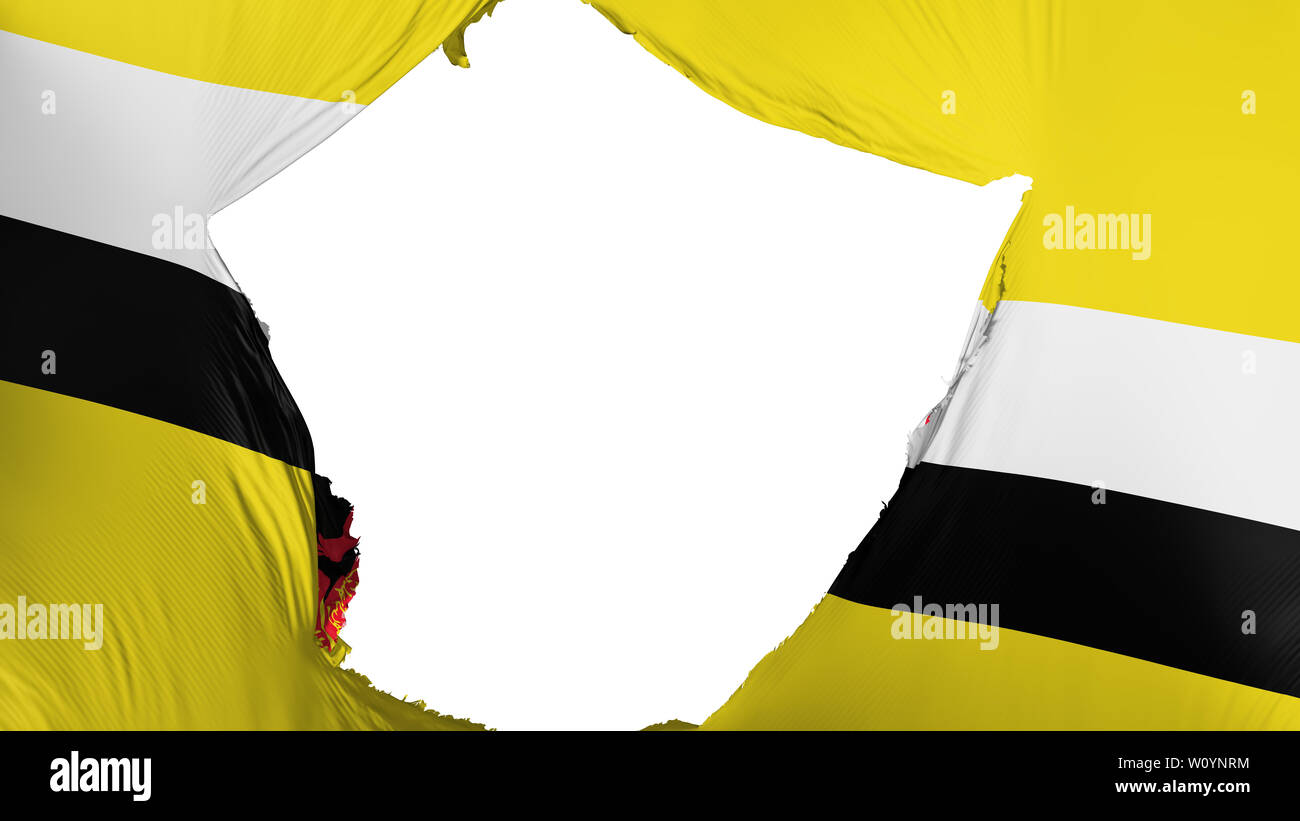 Cracked Bandar Seri Begawan, capital of Brunei flag, white background, 3d rendering - Stock Image