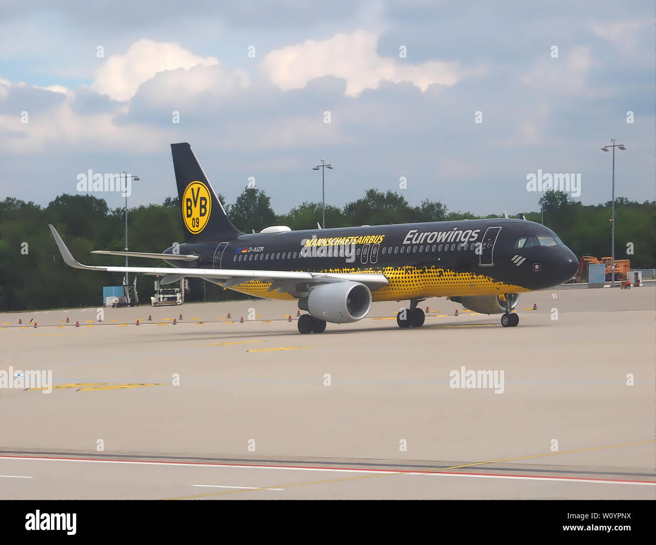 Team airbus or airplane of the BVB, a german soccer team from Dortmund - Stock Image