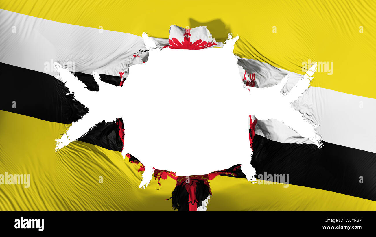 Bandar Seri Begawan, capital of Brunei flag with a big hole, white background, 3d rendering - Stock Image