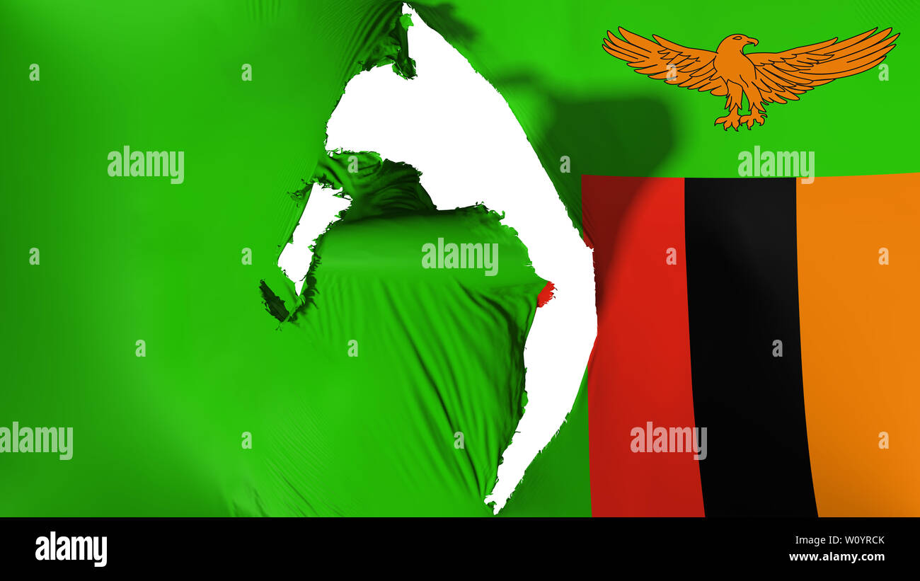 Damaged Zambia flag, white background, 3d rendering Stock