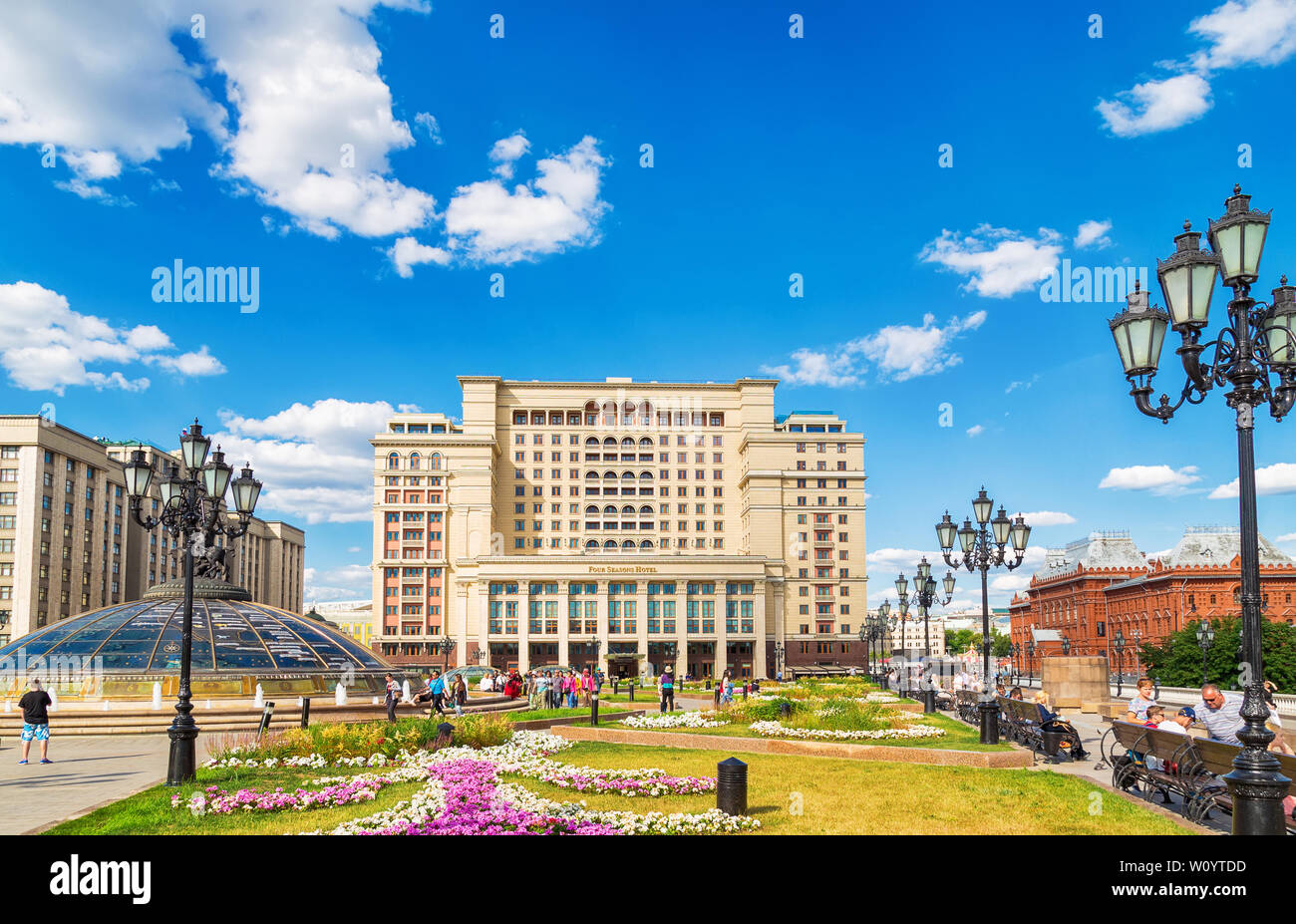 Moscow, Russia - June 24, 2019: The Four Seasons Hotel Moscow is a modern hotel in Manezhnaya Square. A facade is replicated the historic Hotel Moskva - Stock Image