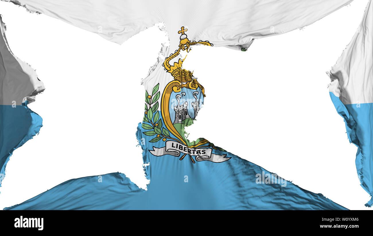 Destroyed San Marino flag, white background, 3d rendering - Stock Image