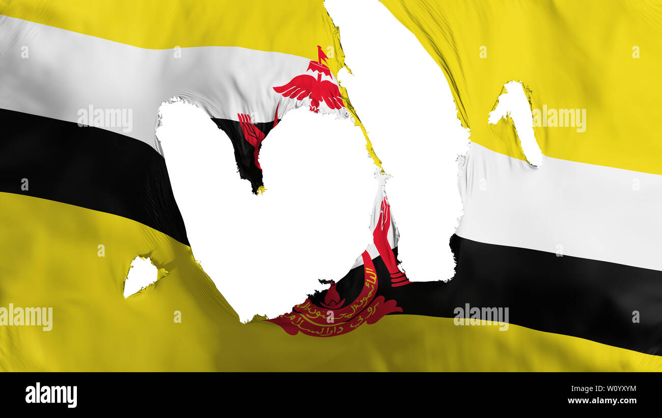 Ragged Bandar Seri Begawan, capital of Brunei flag, white background, 3d rendering - Stock Image