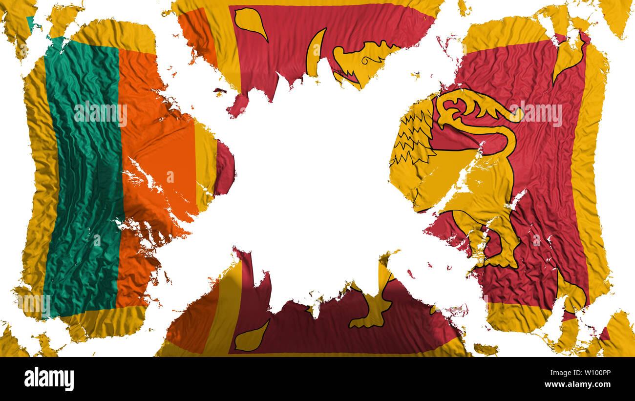 Sri Lanka torn flag fluttering in the wind, over white background, 3d rendering Stock Photo