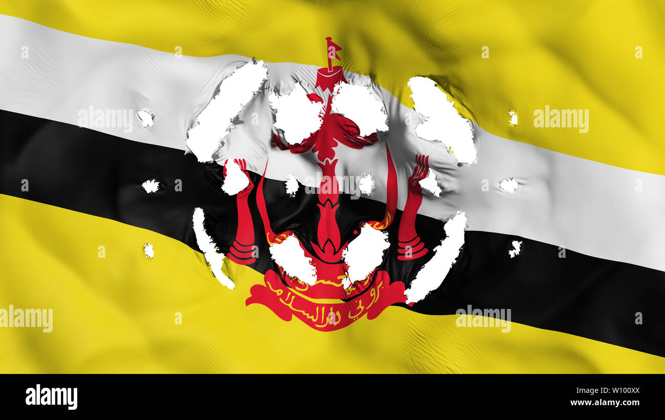 Bandar Seri Begawan, capital of Brunei flag with a small holes, white background, 3d rendering - Stock Image