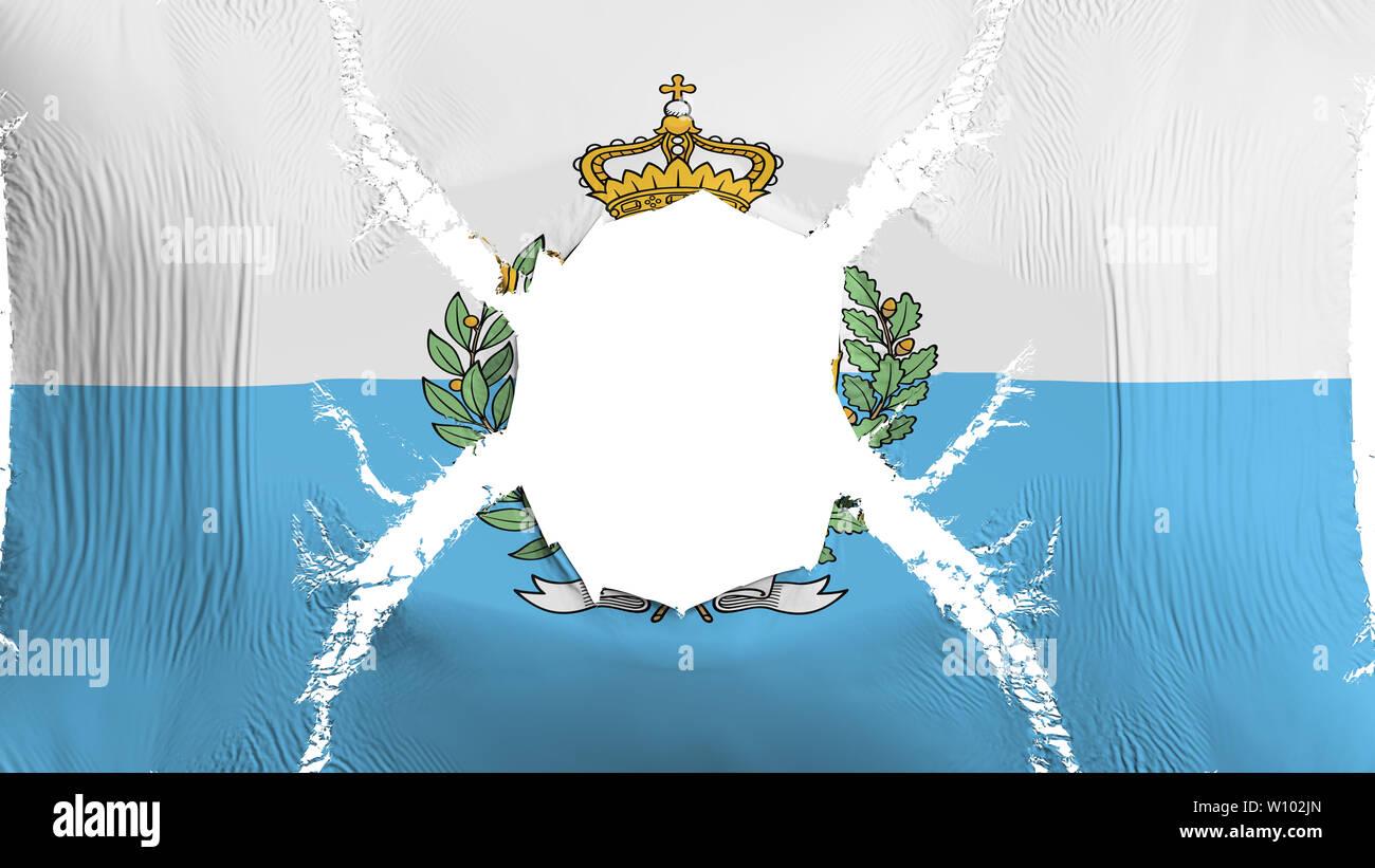 San Marino flag with a hole - Stock Image