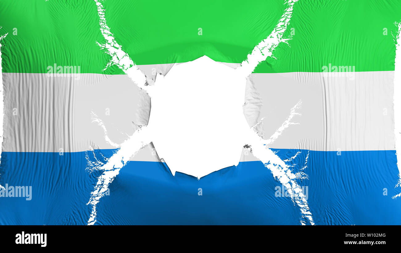 Sierra Leone flag with a hole - Stock Image