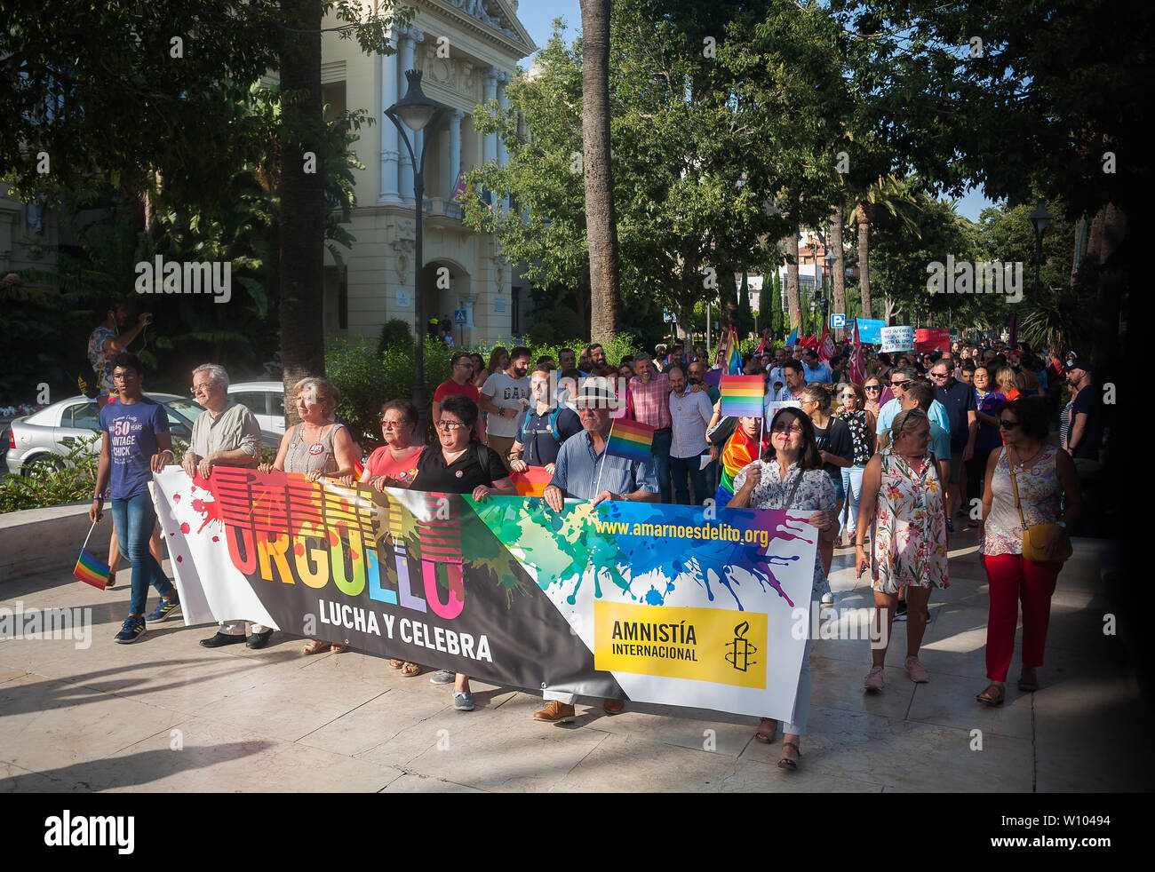 People and activists from the NGO Amnesty International march along the street as they carry a large banner with the slogan Pride, Fight and celebrate during a demonstration to celebrate the International Pride LGTBI Day 2019, organized by Andalusia Rainbow Federation.Thousands of people around the world take part on the Pride LGTBI, marked the anniversary of 50 years of Stonewall riot which commemorated the fight of gays, lesbians, transgender, bisexuals and intersexual during the first demonstrations in US in favour of their rights. Stock Photo