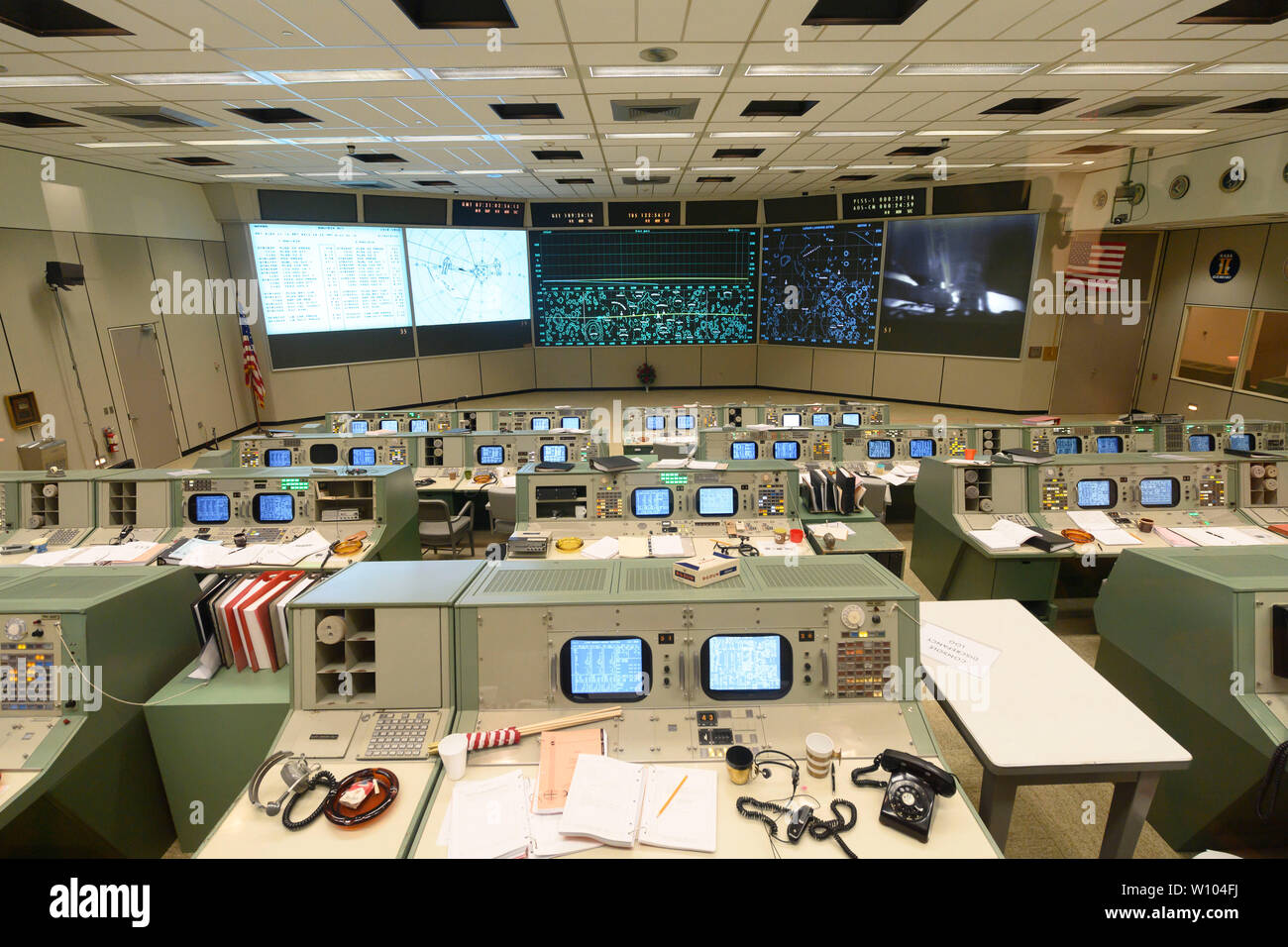 Mission Control Center at NASA Johnson Space Center in Clear Lake near Houston, Texas, newly restored to its 1960s version to commemorate the 50th anniversary of man's first steps on the moon in July 1969 by Apollo 11 astronauts. After its launch from the Kennedy Space Flight Center in Florida, the Apollo 11 moon landing and return to earth was controlled from this facility. Stock Photo