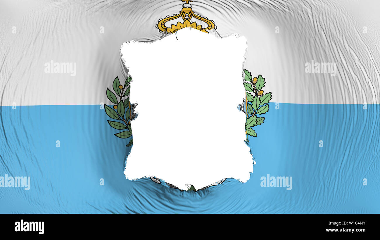 Square hole in the San Marino flag - Stock Image