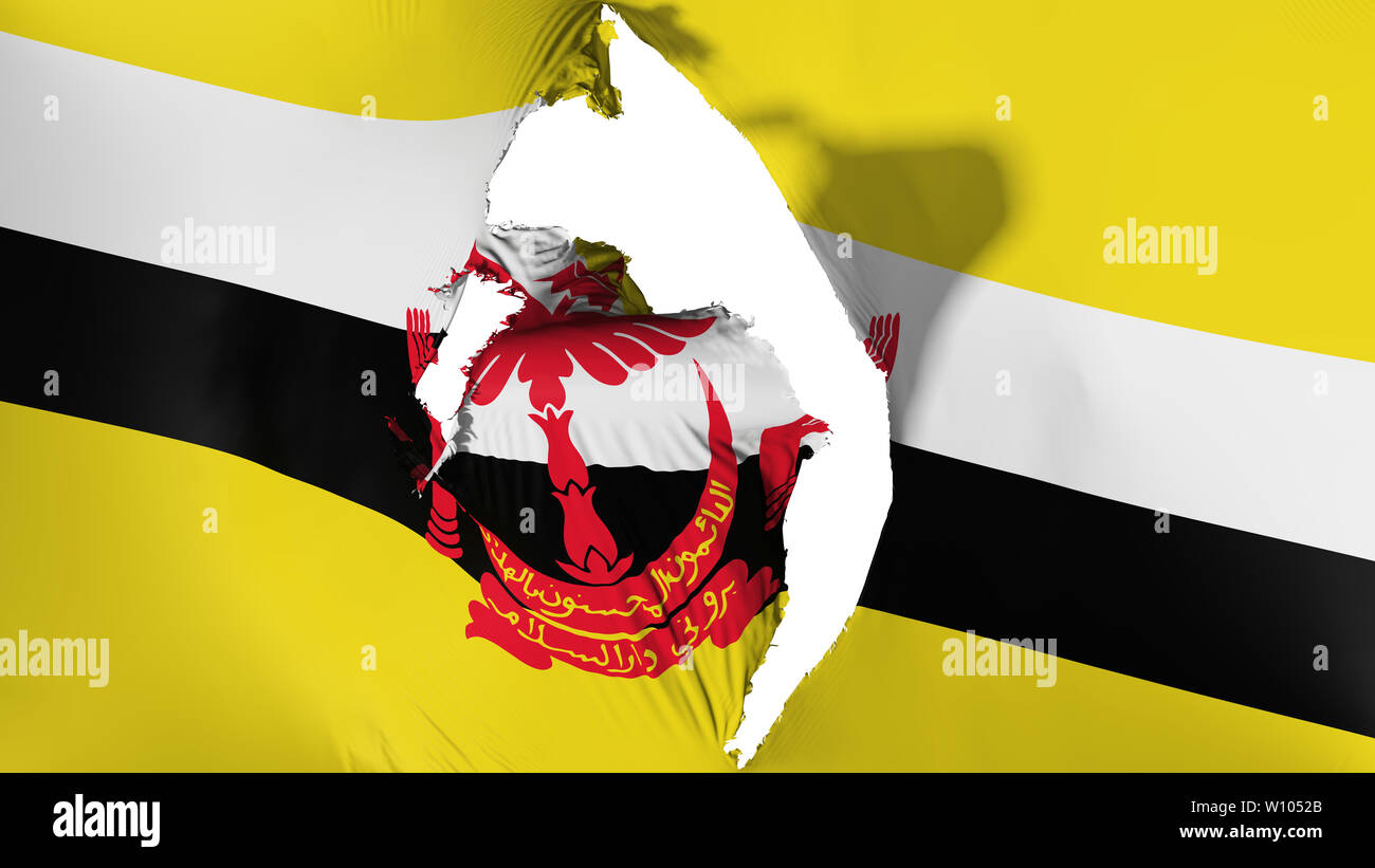 Damaged Bandar Seri Begawan flag - Stock Image