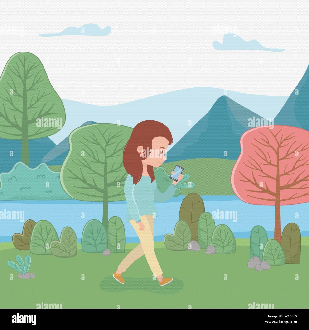 beautiful woman walking in the park using smartphone vector illustration design - Stock Vector
