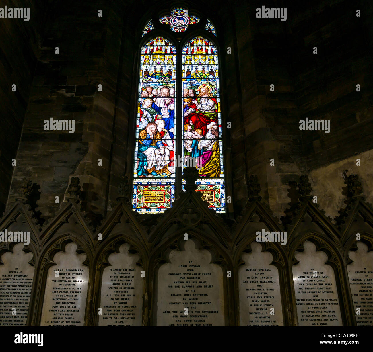 Stained glass window depicting Sermon on the Mount, West window, Church of Holy Rude, Stirling, Scotland, UK Stock Photo