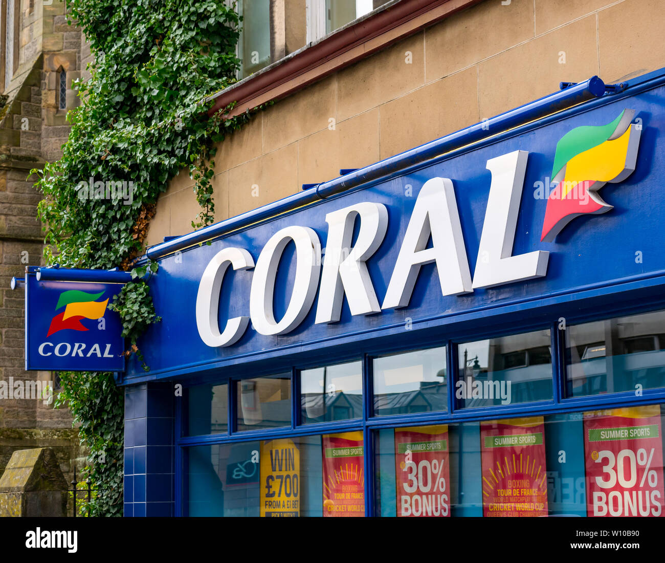 Coral bookmakers betting shop name sign, Barnton Street, Stirling, Scotland, UK Stock Photo