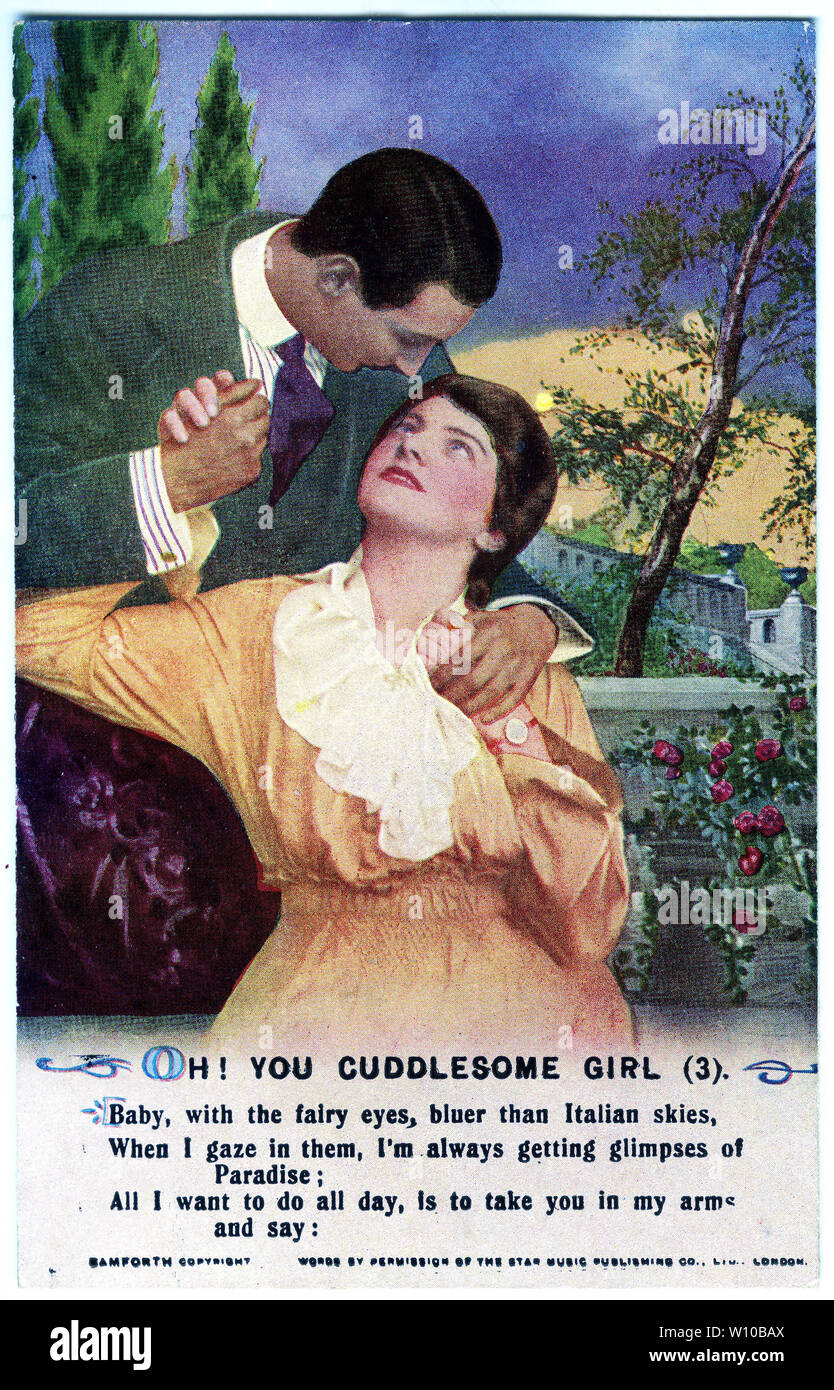 A World War One era postcard featuring a verse of the poem Oh! You Cuddlesome Girl, one of three  cards in the series. Stock Photo
