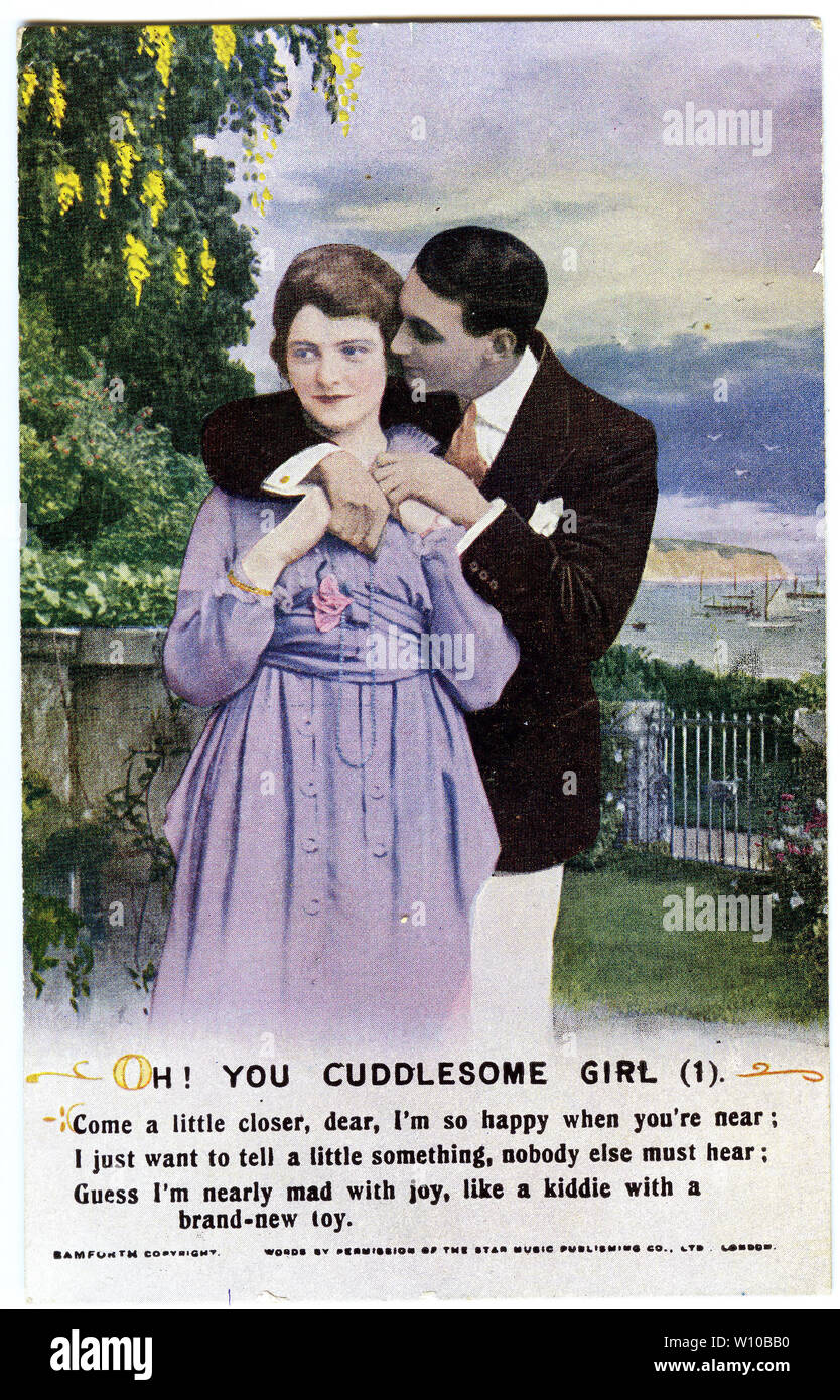 A World War One era postcard featuring a verse of the poem Oh! You Cuddlesome Girl, one of three cards in the series. - Stock Image