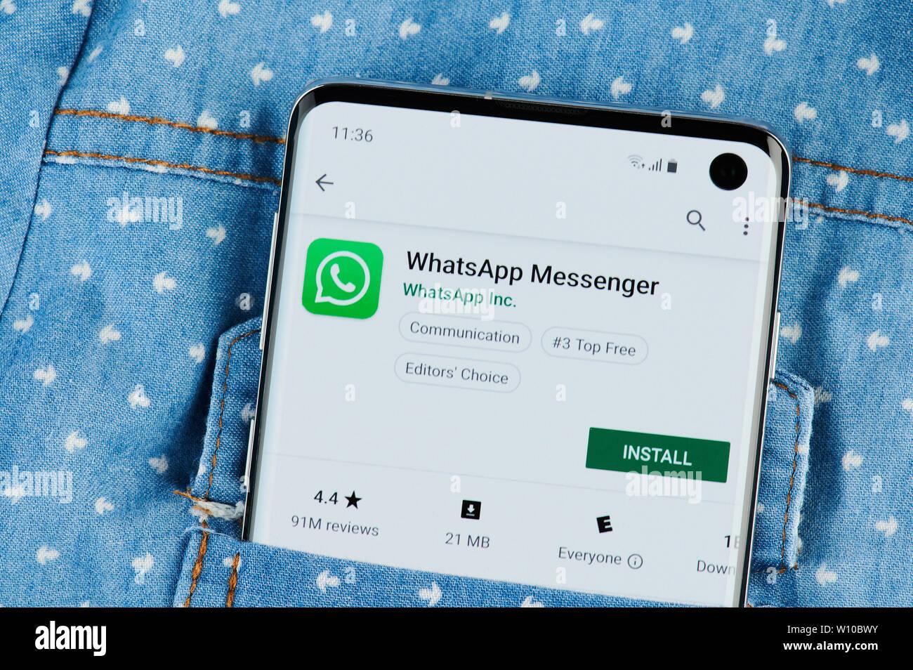 New york, USA - June 28, 2019: Whatsapp messenger application on