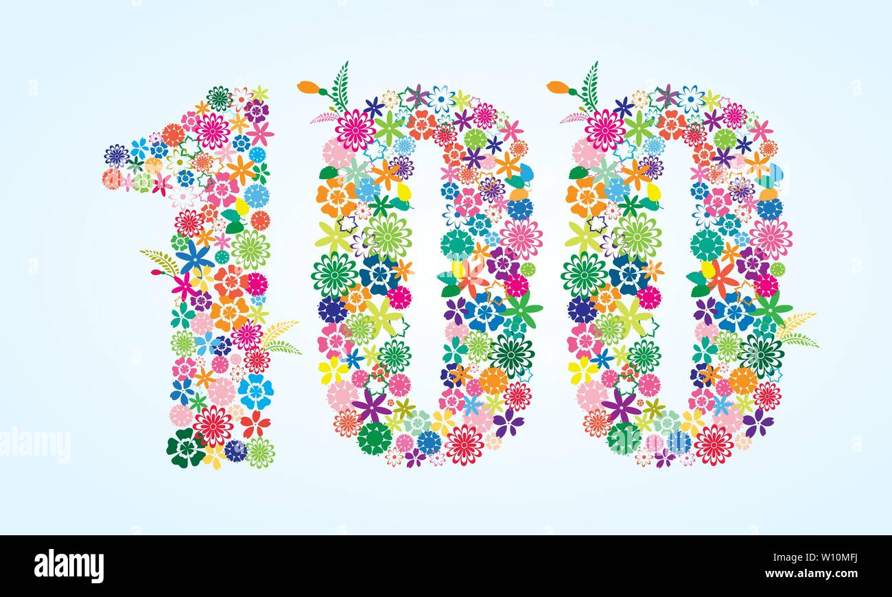 Vector Colorful Floral 100 Number Design isolated on white background. Floral Number One Hundred Vector Typeface. - Stock Vector