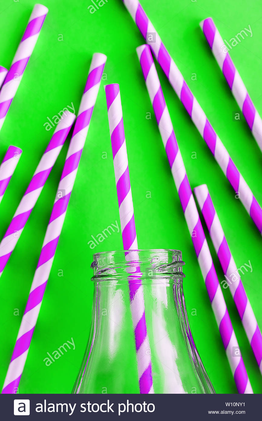 Colored, reusable, paper, striped, pink and white straws for